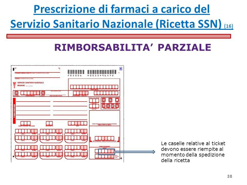 RIMBORSABILITA PARZIALE Le caselle relative al ticket devono essere riempite al momento della spedizione della ricetta Prescrizione di farmaci a caric