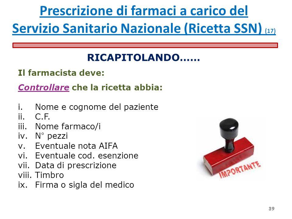 RICAPITOLANDO…… Il farmacista deve: Controllare che la ricetta abbia: i.Nome e cognome del paziente ii.C.F. iii.Nome farmaco/i iv.N° pezzi v.Eventuale
