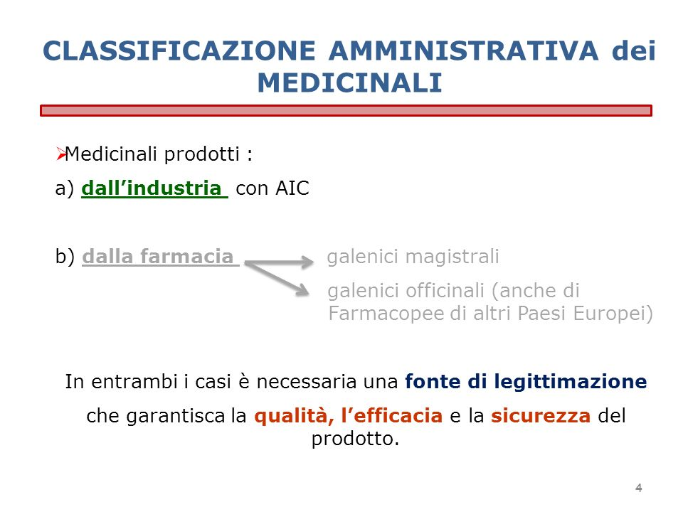 CLASSIFICAZIONE AMMINISTRATIVA dei MEDICINALI Medicinali prodotti : a) dallindustria con AIC b) dalla farmacia galenici magistrali galenici officinali