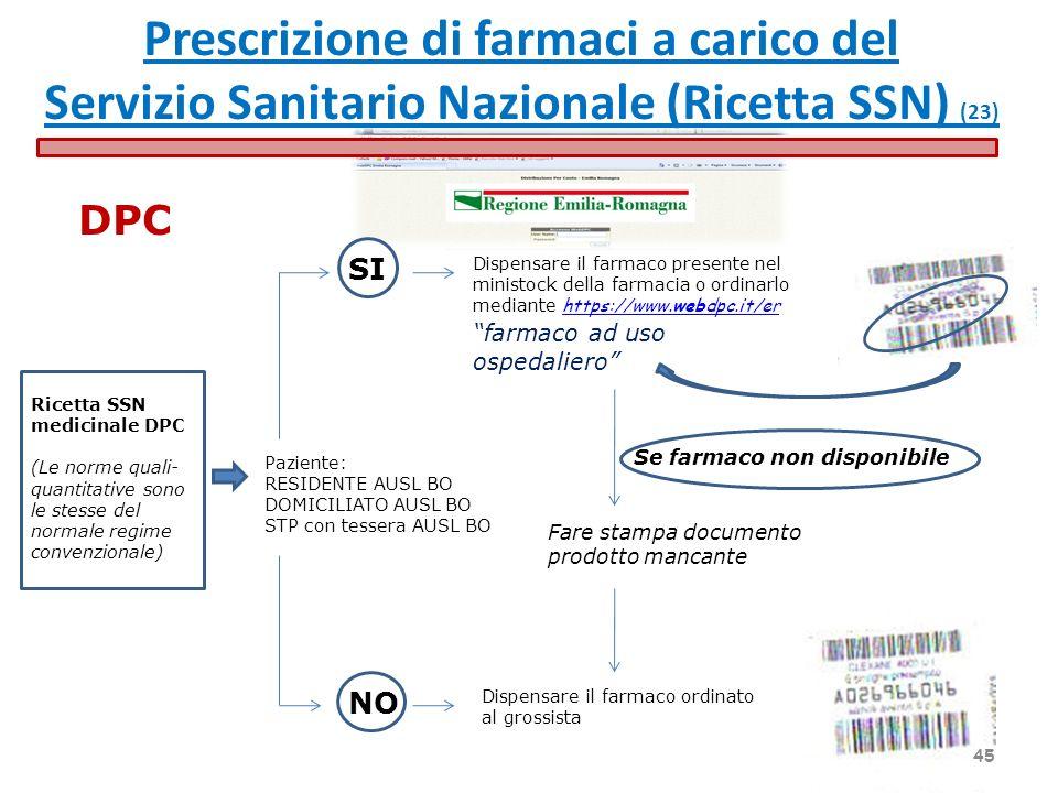 Ricetta SSN medicinale DPC (Le norme quali- quantitative sono le stesse del normale regime convenzionale) Paziente: RESIDENTE AUSL BO DOMICILIATO AUSL