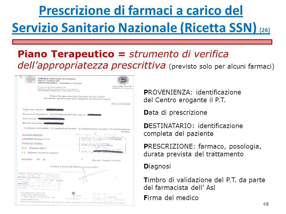 Piano Terapeutico = strumento di verifica dellappropriatezza prescrittiva (previsto solo per alcuni farmaci) I PROVENIENZA: identificazione del Centro