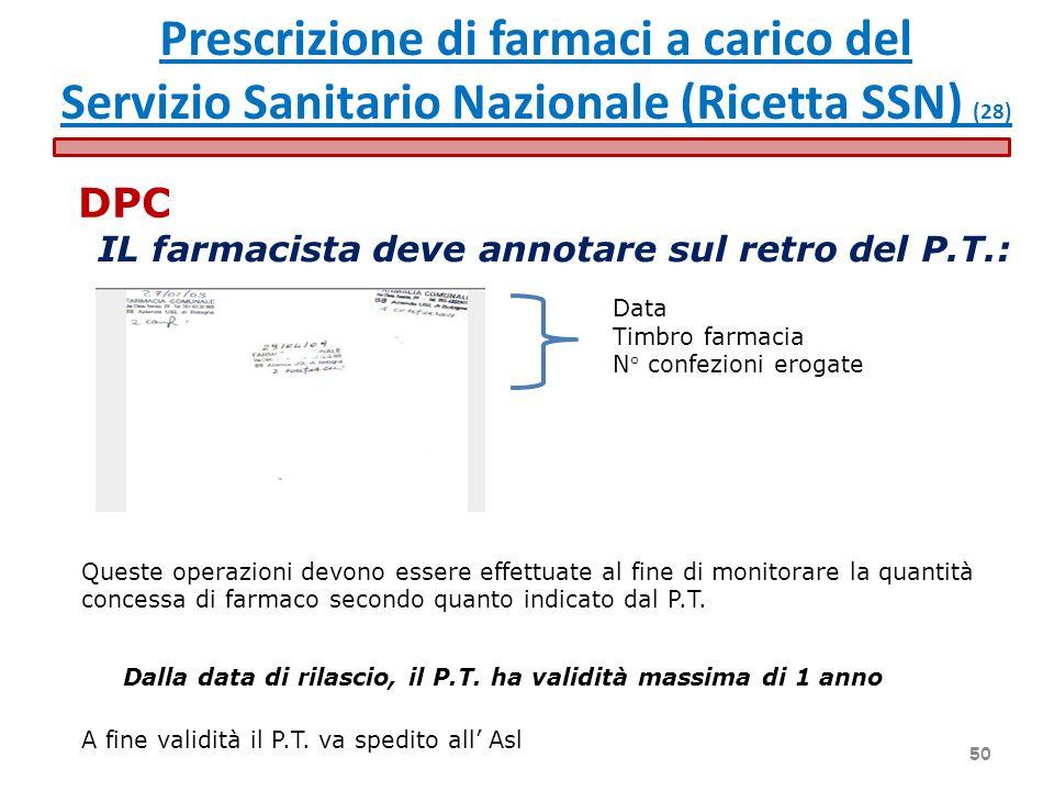 IL farmacista deve annotare sul retro del P.T.: Data Timbro farmacia N° confezioni erogate Queste operazioni devono essere effettuate al fine di monit