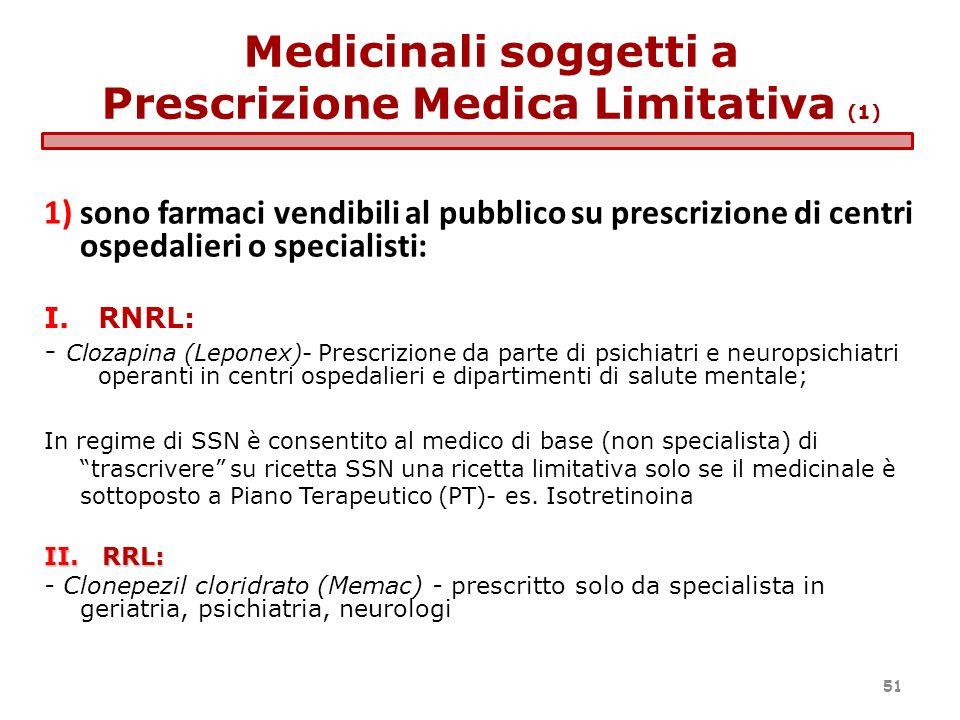 1)sono farmaci vendibili al pubblico su prescrizione di centri ospedalieri o specialisti: I.RNRL: - Clozapina (Leponex)- Prescrizione da parte di psic
