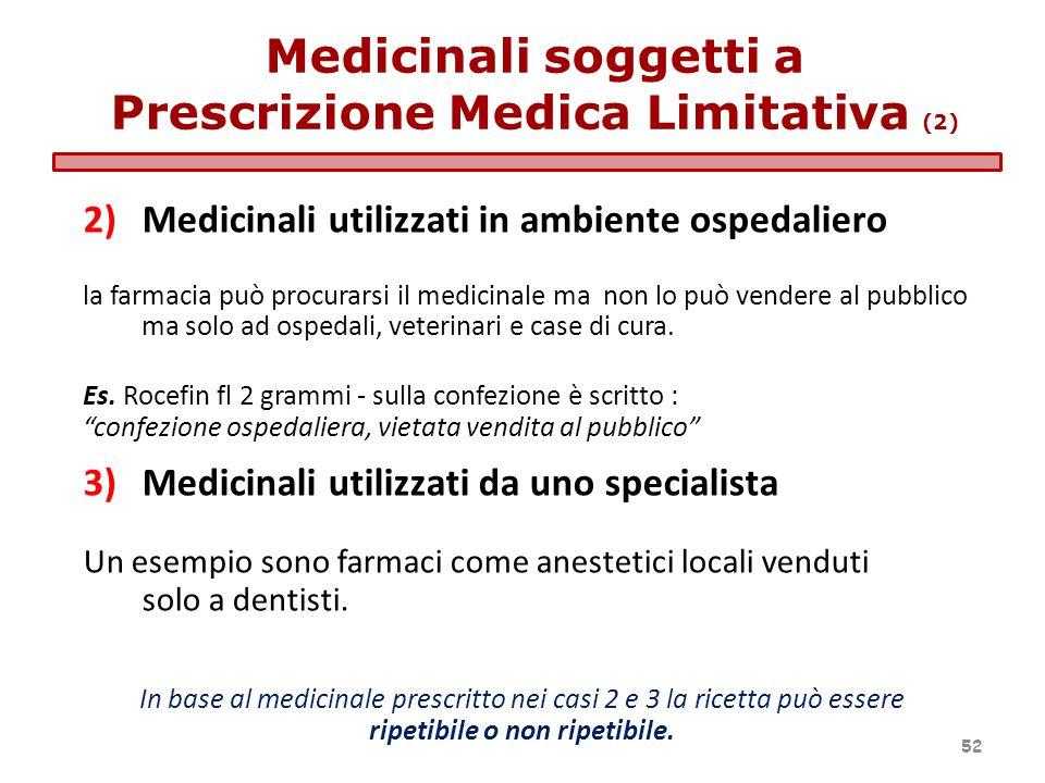2)Medicinali utilizzati in ambiente ospedaliero la farmacia può procurarsi il medicinale ma non lo può vendere al pubblico ma solo ad ospedali, veteri