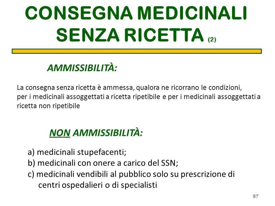 CONSEGNA MEDICINALI SENZA RICETTA (2) AMMISSIBILITÀ: La consegna senza ricetta è ammessa, qualora ne ricorrano le condizioni, per i medicinali assogge