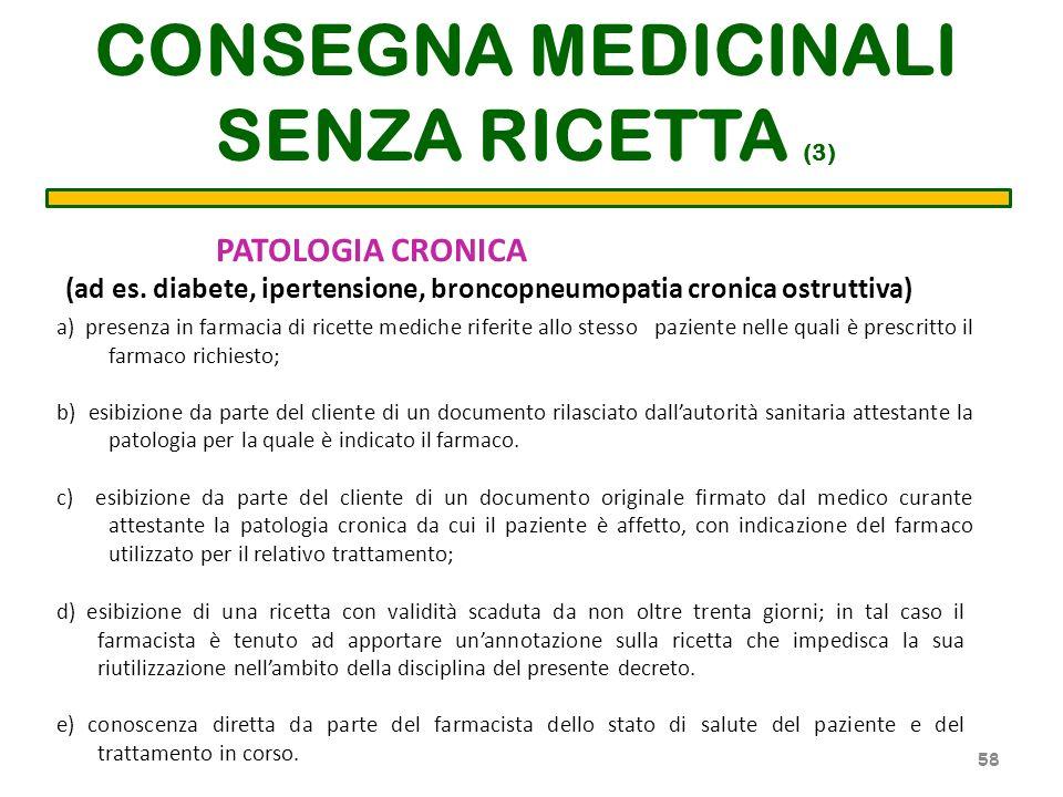 CONSEGNA MEDICINALI SENZA RICETTA (3) a) presenza in farmacia di ricette mediche riferite allo stesso paziente nelle quali è prescritto il farmaco ric
