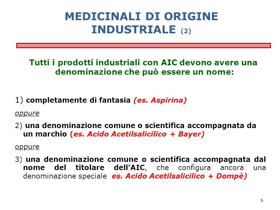 Tutti i prodotti industriali con AIC devono avere una denominazione che può essere un nome: 1) completamente di fantasia (es. Aspirina) oppure 2) una