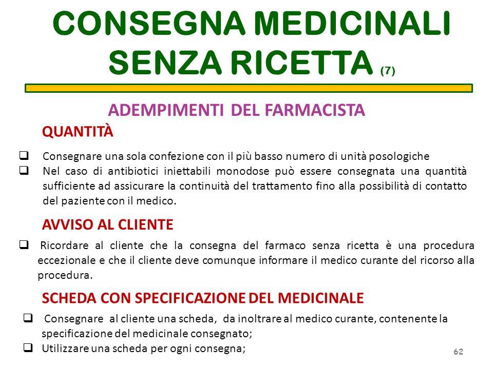 ADEMPIMENTI DEL FARMACISTA Consegnare una sola confezione con il più basso numero di unità posologiche Nel caso di antibiotici iniettabili monodose pu