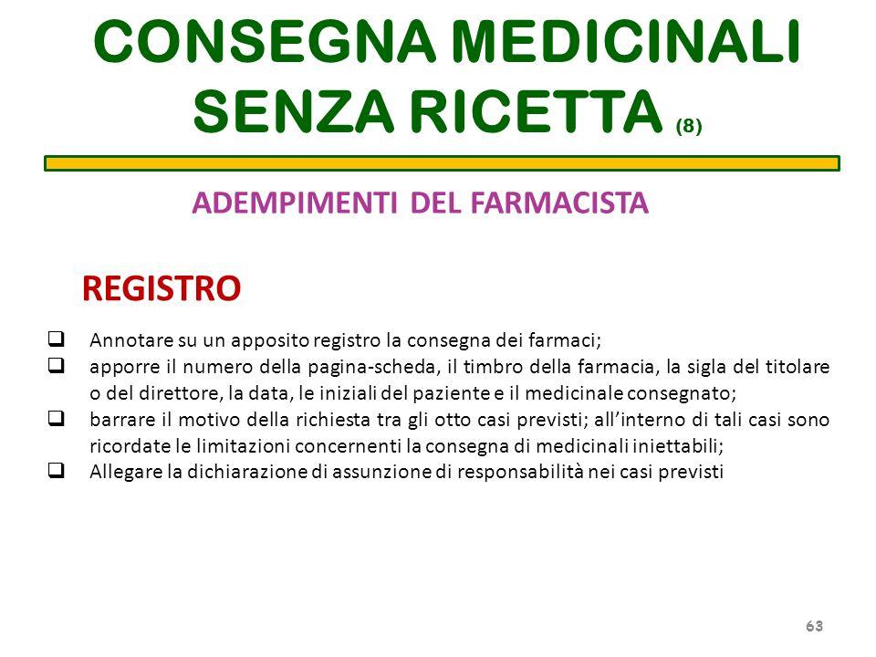ADEMPIMENTI DEL FARMACISTA CONSEGNA MEDICINALI SENZA RICETTA (8) Annotare su un apposito registro la consegna dei farmaci; apporre il numero della pag