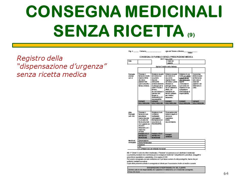 CONSEGNA MEDICINALI SENZA RICETTA (9) 64 Registro della dispensazione durgenza senza ricetta medica