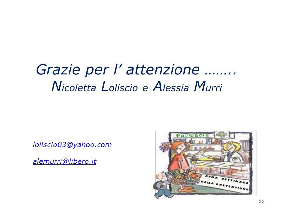 Grazie per l attenzione …….. N icoletta L oliscio e A lessia M urri loliscio03@yahoo.com alemurri@libero.it 66