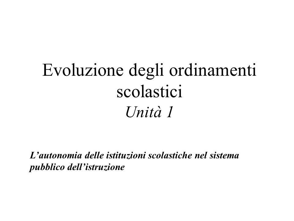 Evoluzione degli ordinamenti scolastici Unità 1 Lautonomia delle istituzioni scolastiche nel sistema pubblico dellistruzione