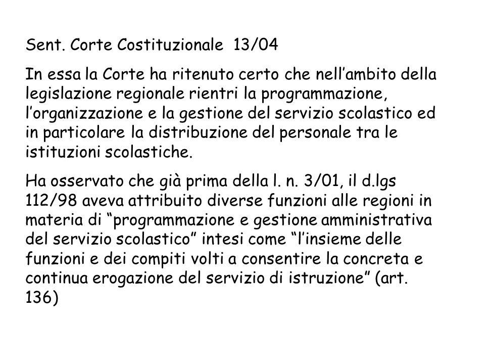 Sent. Corte Costituzionale 13/04 In essa la Corte ha ritenuto certo che nellambito della legislazione regionale rientri la programmazione, lorganizzaz