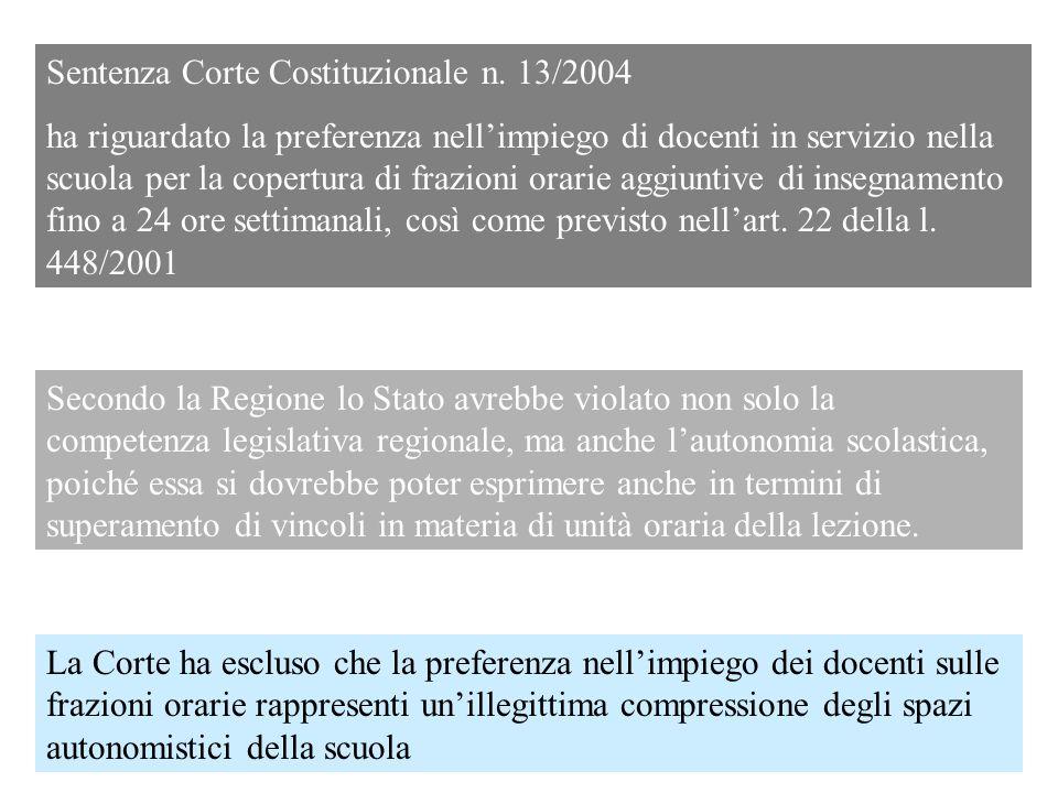 Sentenza Corte Costituzionale n. 13/2004 ha riguardato la preferenza nellimpiego di docenti in servizio nella scuola per la copertura di frazioni orar