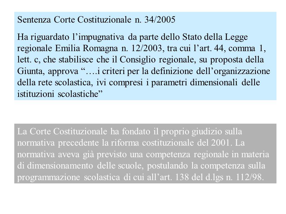 Sentenza Corte Costituzionale n. 34/2005 Ha riguardato limpugnativa da parte dello Stato della Legge regionale Emilia Romagna n. 12/2003, tra cui lart