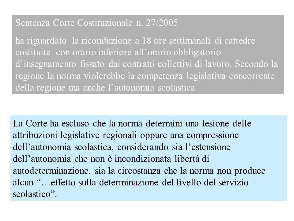 Sentenza Corte Costituzionale n. 27/2005 ha riguardato la riconduzione a 18 ore settimanali di cattedre costituite con orario inferiore allorario obbl