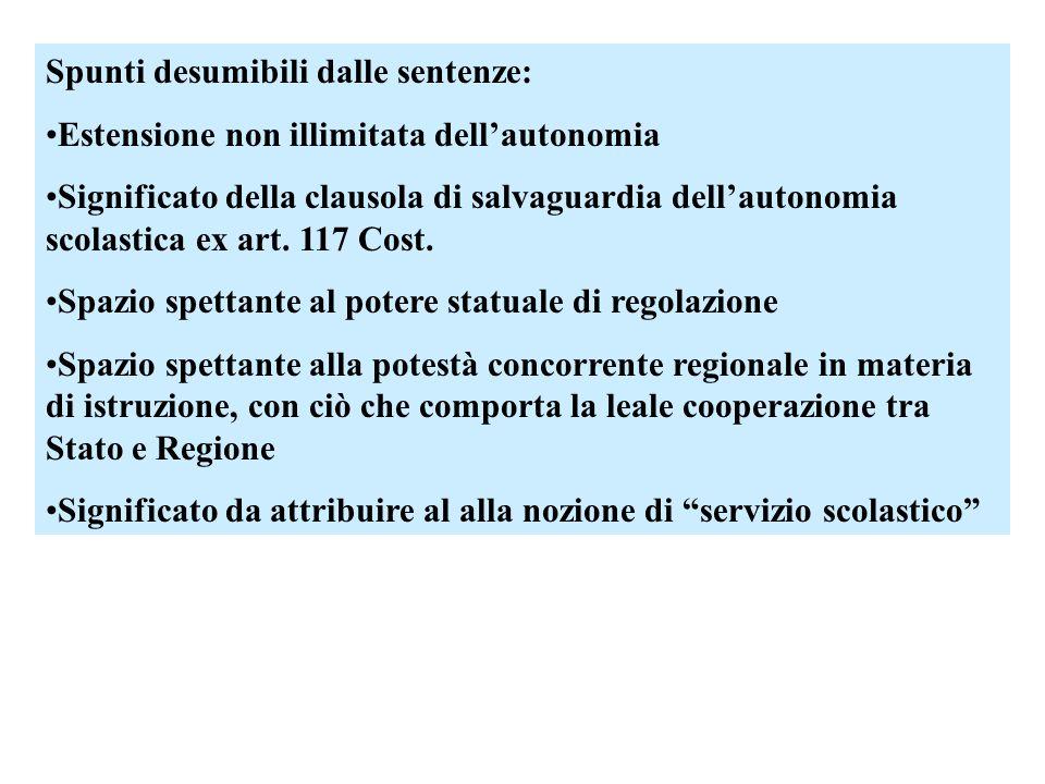 Spunti desumibili dalle sentenze: Estensione non illimitata dellautonomia Significato della clausola di salvaguardia dellautonomia scolastica ex art.