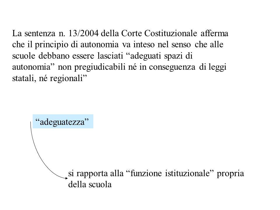 La sentenza n. 13/2004 della Corte Costituzionale afferma che il principio di autonomia va inteso nel senso che alle scuole debbano essere lasciati ad