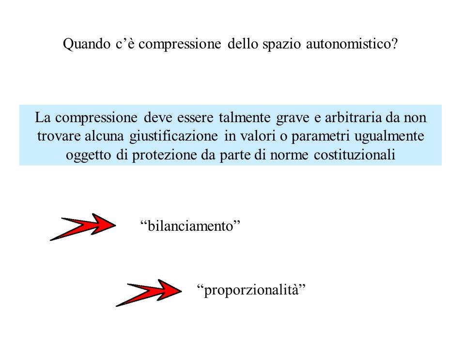 Quando cè compressione dello spazio autonomistico? La compressione deve essere talmente grave e arbitraria da non trovare alcuna giustificazione in va