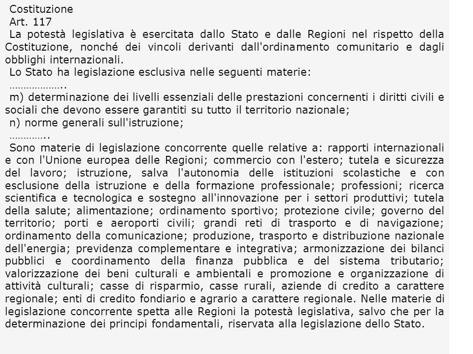 Costituzione Art. 117 La potestà legislativa è esercitata dallo Stato e dalle Regioni nel rispetto della Costituzione, nonché dei vincoli derivanti da