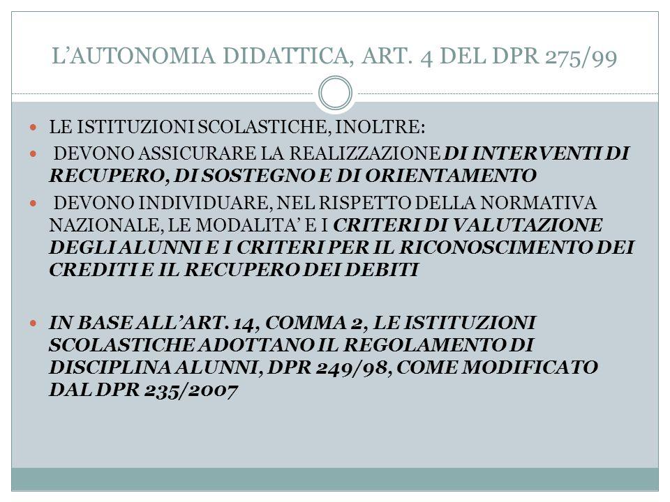 LAUTONOMIA DIDATTICA, ART. 4 DEL DPR 275/99 LA FLESSIBILITA DIDATTICA CONSENTE: 1) UNA ARTICOLAZIONE MODULARE DEL MONTE ORE ANNUALE DI CIASCUNA DISCIP
