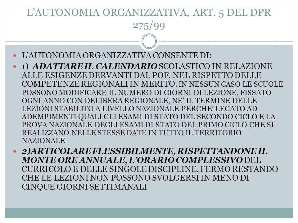 LAUTONOMIA DIDATTICA, ART. 4 DEL DPR 275/99 LE ISTITUZIONI SCOLASTICHE, INOLTRE: DEVONO ASSICURARE LA REALIZZAZIONE DI INTERVENTI DI RECUPERO, DI SOST
