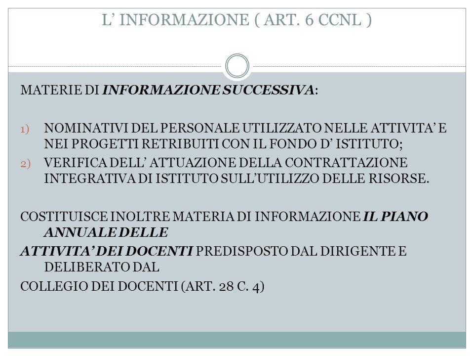 L INFORMAZIONE ( ART. 6 CCNL ) 6) TUTTE LE MATERIE OGGETTO DI CONTRATTAZIONE. 7) CRITERI DI INDIVIDUAZIONE E MODALITA DI UTILIZZAZIONE DEL PERSONALE I