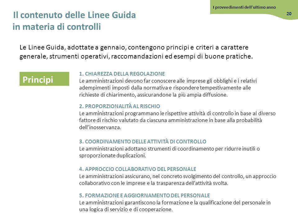 Il contenuto delle Linee Guida in materia di controlli Le Linee Guida, adottate a gennaio, contengono principi e criteri a carattere generale, strumen