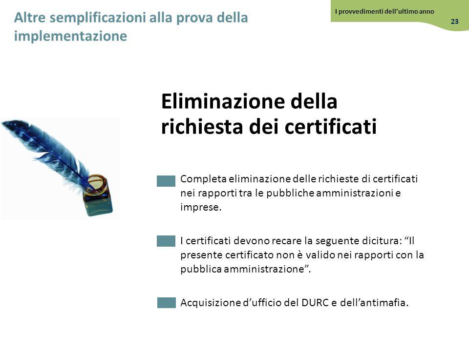 Eliminazione della richiesta dei certificati Completa eliminazione delle richieste di certificati nei rapporti tra le pubbliche amministrazioni e impr