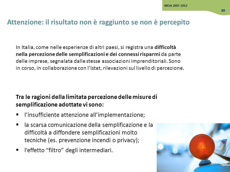 Attenzione: il risultato non è raggiunto se non è percepito Tra le ragioni della limitata percezione delle misure di semplificazione adottate vi sono: