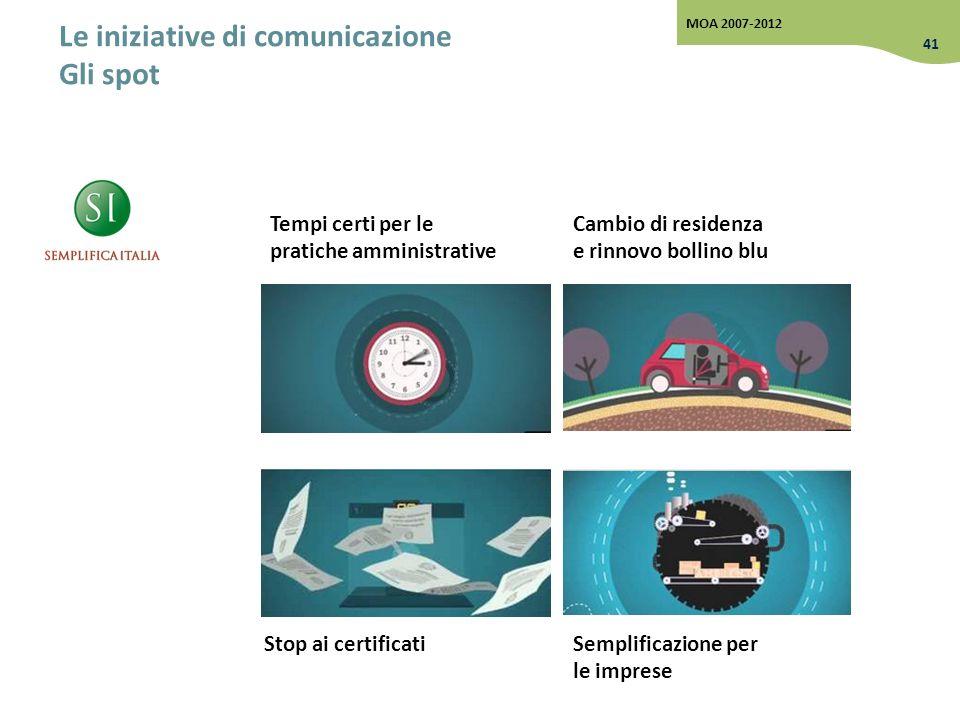 Le iniziative di comunicazione Gli spot Stop ai certificati Cambio di residenza e rinnovo bollino blu Semplificazione per le imprese Tempi certi per l