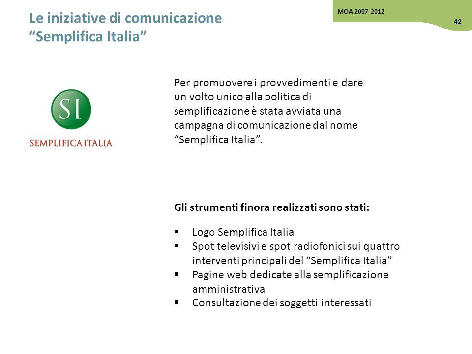 Le iniziative di comunicazione Semplifica Italia Per promuovere i provvedimenti e dare un volto unico alla politica di semplificazione è stata avviata