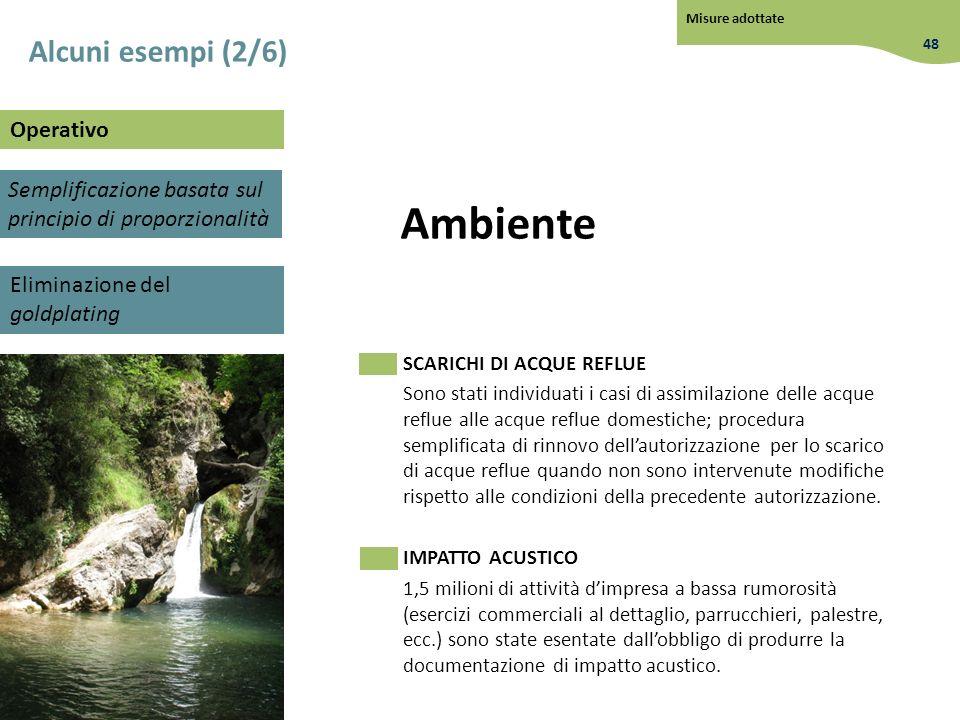 Ambiente SCARICHI DI ACQUE REFLUE Sono stati individuati i casi di assimilazione delle acque reflue alle acque reflue domestiche; procedura semplifica