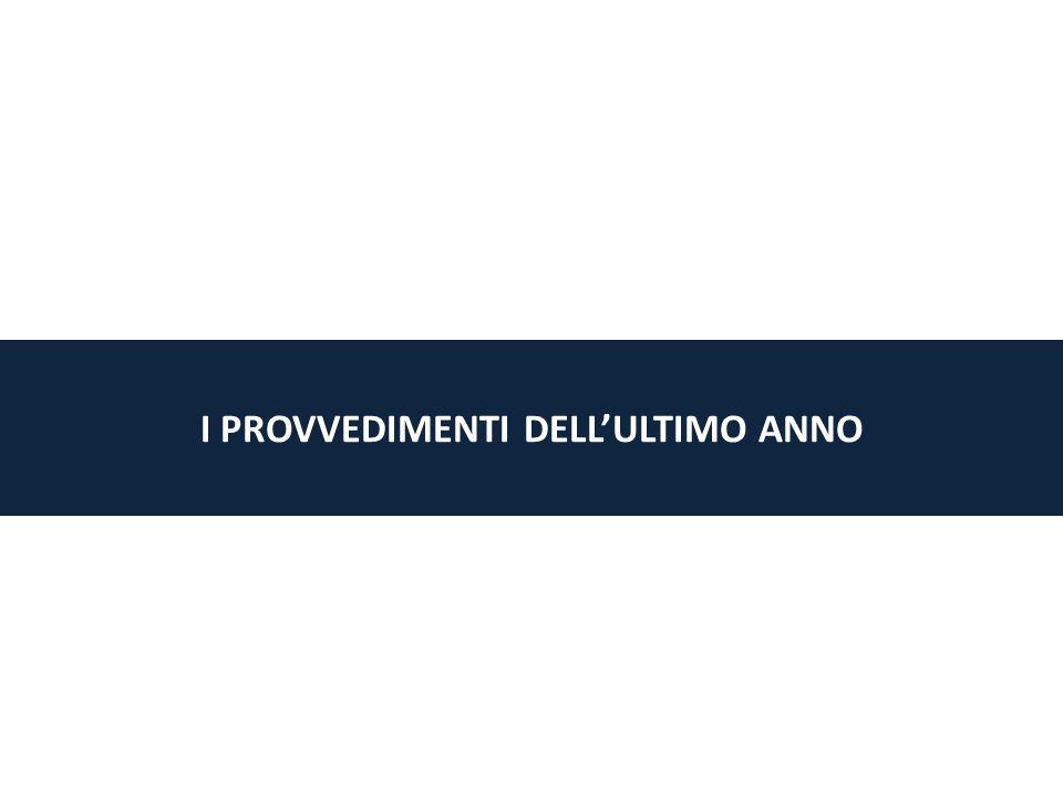 I PROVVEDIMENTI DELLULTIMO ANNO