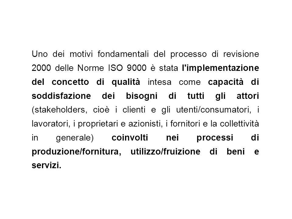 Uno dei motivi fondamentali del processo di revisione 2000 delle Norme ISO 9000 è stata l'implementazione del concetto di qualità intesa come capacità