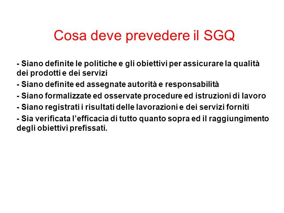 Cosa deve prevedere il SGQ - Siano definite le politiche e gli obiettivi per assicurare la qualità dei prodotti e dei servizi - Siano definite ed asse