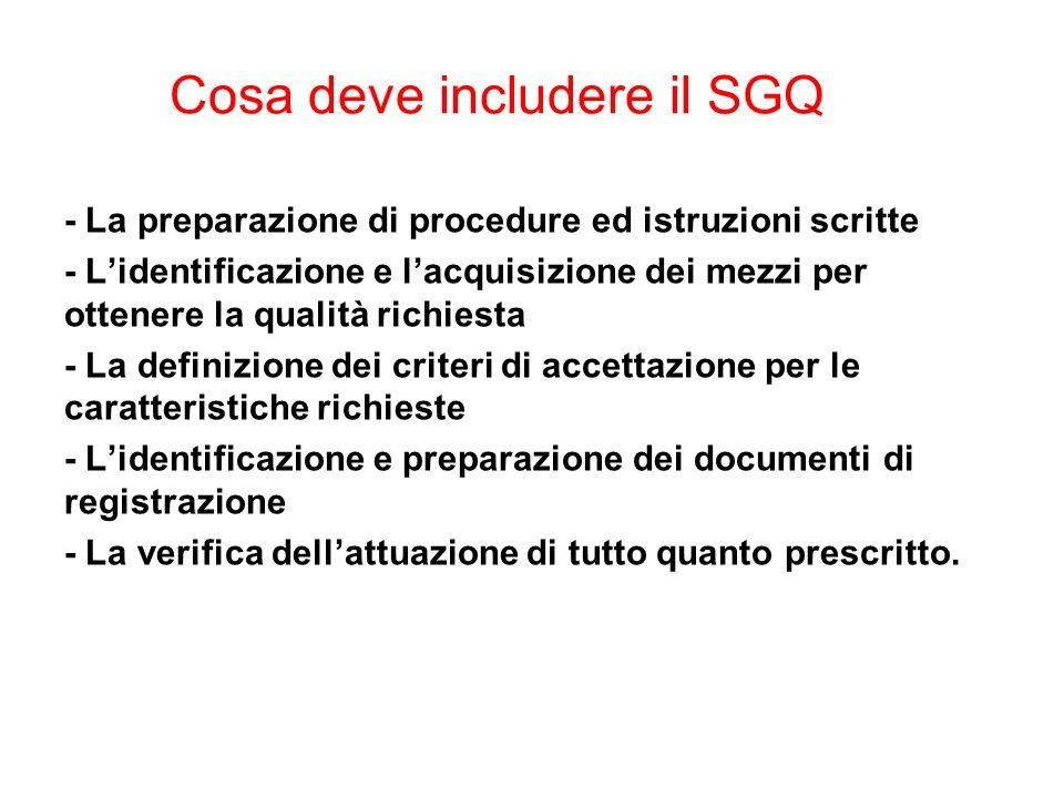 Cosa deve includere il SGQ - La preparazione di procedure ed istruzioni scritte - Lidentificazione e lacquisizione dei mezzi per ottenere la qualità r