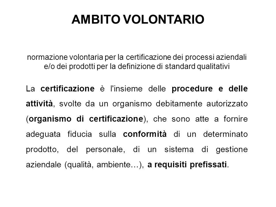 normazione volontaria per la certificazione dei processi aziendali e/o dei prodotti per la definizione di standard qualitativi La certificazione è l'i