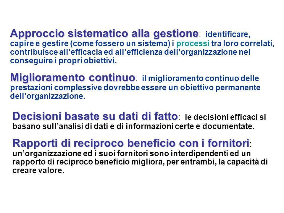 Approccio sistematico alla gestione Approccio sistematico alla gestione : identificare, capire e gestire (come fossero un sistema) i processi tra loro