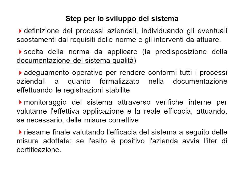 Step per lo sviluppo del sistema definizione dei processi aziendali, individuando gli eventuali scostamenti dai requisiti delle norme e gli interventi