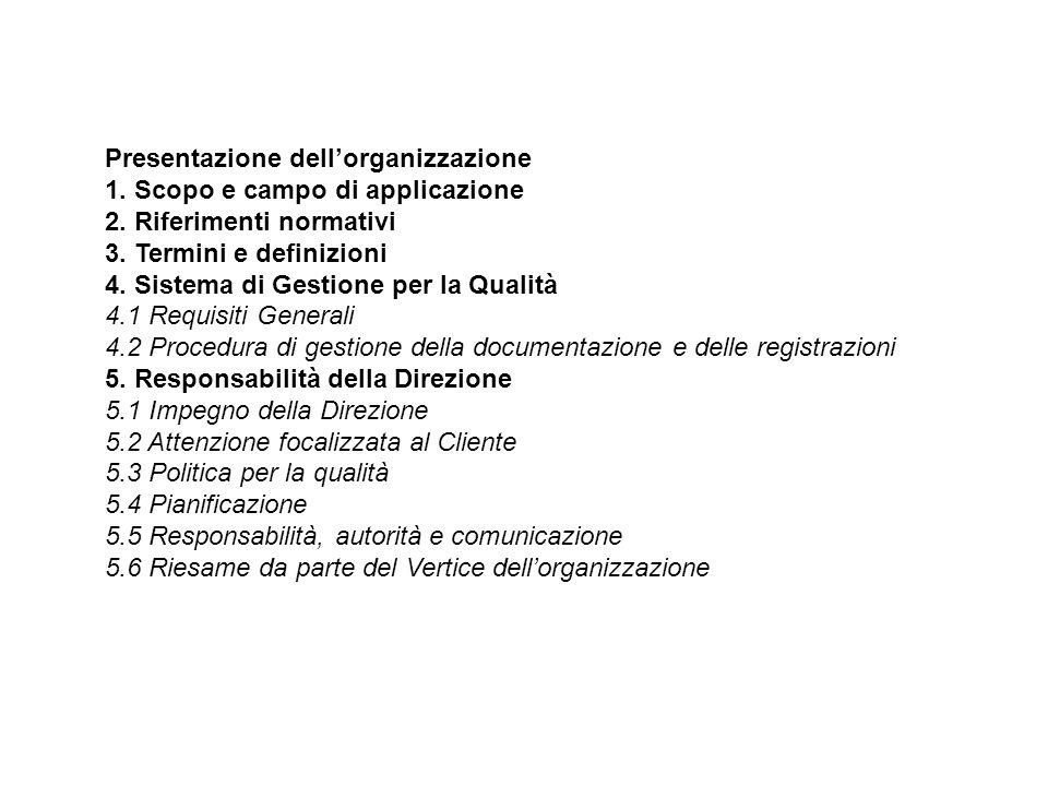 Presentazione dellorganizzazione 1. Scopo e campo di applicazione 2. Riferimenti normativi 3. Termini e definizioni 4. Sistema di Gestione per la Qual