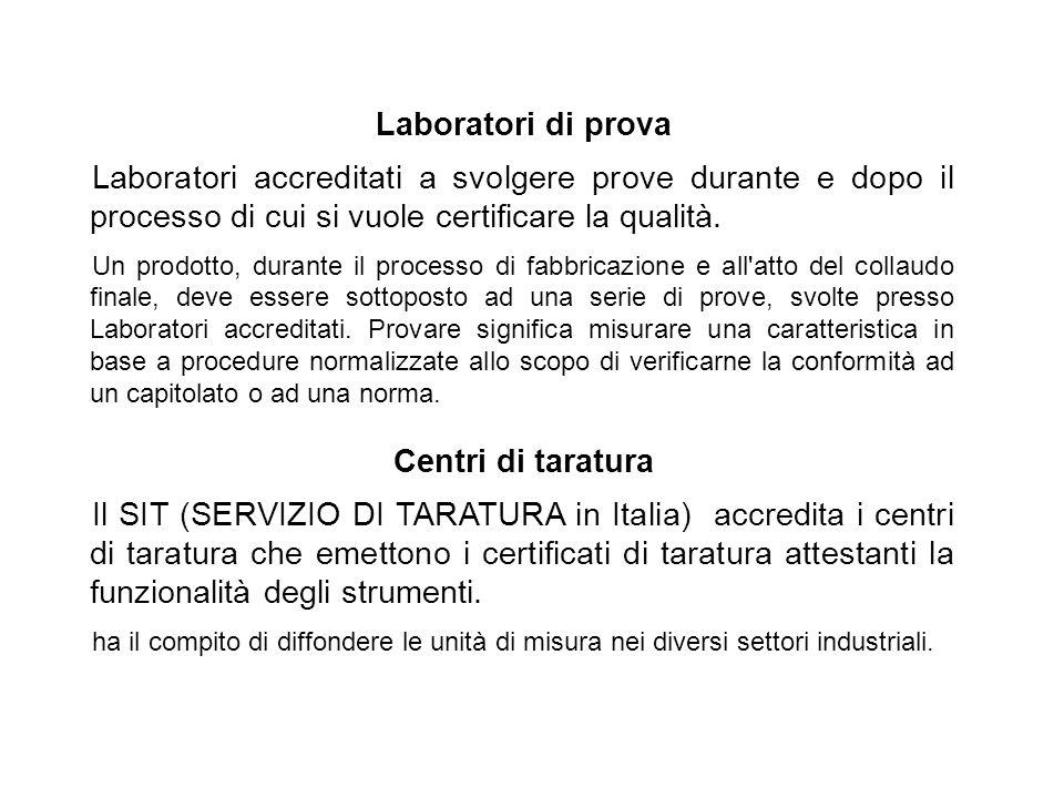 Laboratori di prova Laboratori accreditati a svolgere prove durante e dopo il processo di cui si vuole certificare la qualità. Un prodotto, durante il