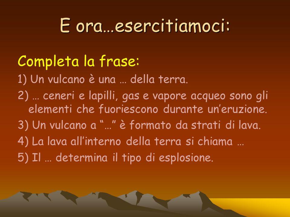 E ora…esercitiamoci: Completa la frase: 1) Un vulcano è una … della terra. 2) … ceneri e lapilli, gas e vapore acqueo sono gli elementi che fuoriescon