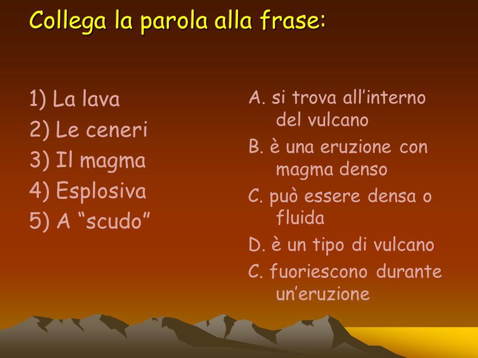 Collega la parola alla frase: 1) La lava 2) Le ceneri 3) Il magma 4) Esplosiva 5) A scudo A. si trova allinterno del vulcano B. è una eruzione con mag