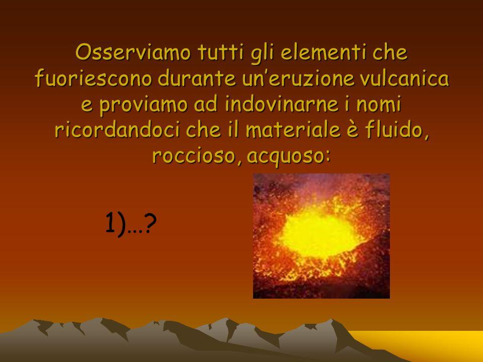 Osserviamo tutti gli elementi che fuoriescono durante uneruzione vulcanica e proviamo ad indovinarne i nomi ricordandoci che il materiale è fluido, ro