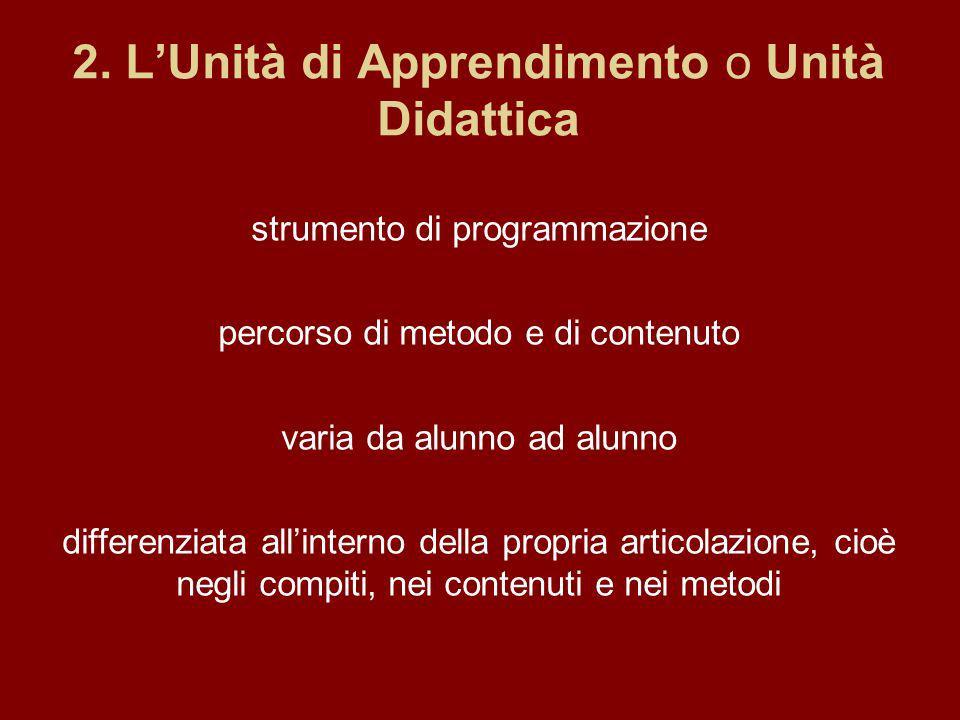 2. LUnità di Apprendimento o Unità Didattica strumento di programmazione percorso di metodo e di contenuto varia da alunno ad alunno differenziata all