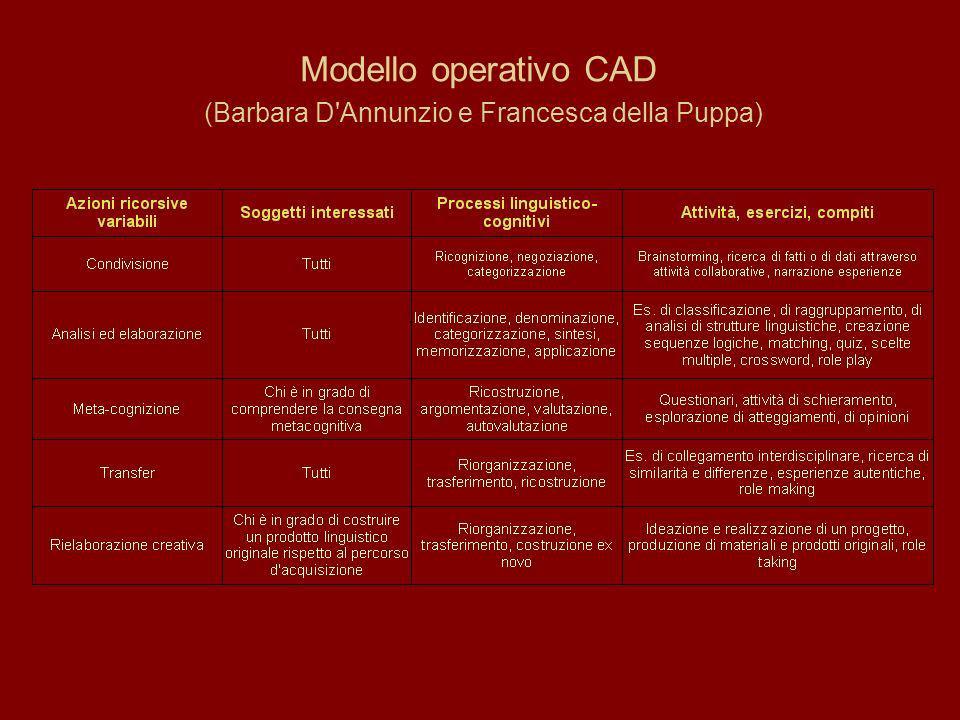 Modello operativo CAD (Barbara D Annunzio e Francesca della Puppa)
