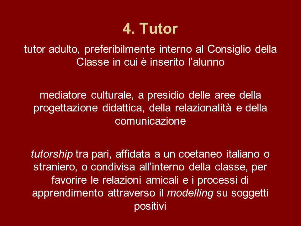 4. Tutor tutor adulto, preferibilmente interno al Consiglio della Classe in cui è inserito lalunno mediatore culturale, a presidio delle aree della pr