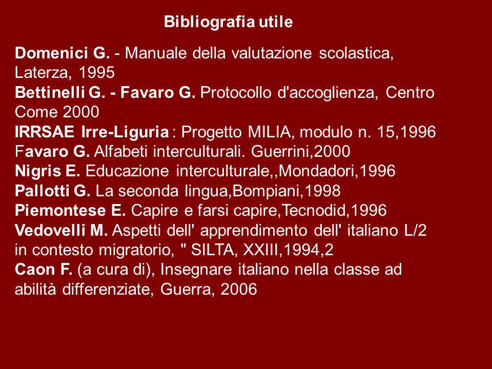 Bibliografia utile Domenici G.- Manuale della valutazione scolastica, Laterza, 1995 Bettinelli G.