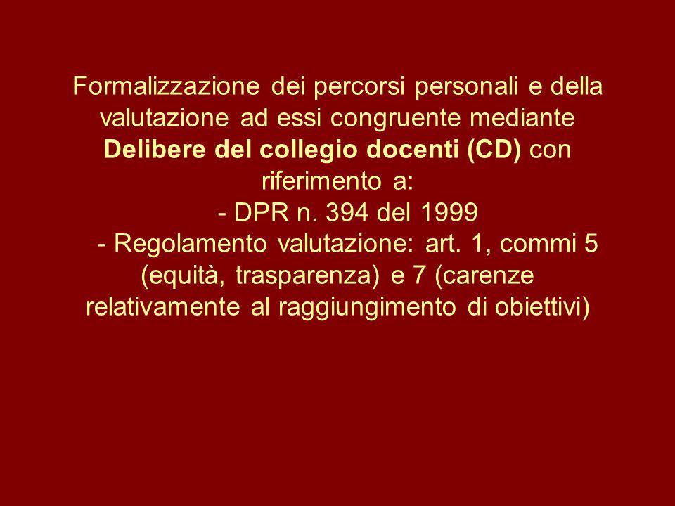 Formalizzazione dei percorsi personali e della valutazione ad essi congruente mediante Delibere del collegio docenti (CD) con riferimento a: - DPR n.
